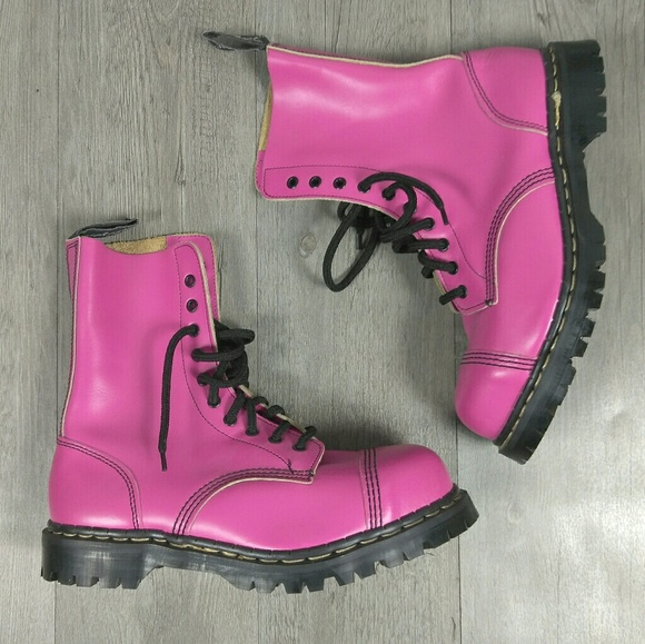 acd37c83ccb9 Gripfast 10 Eyelet Steel Toe Pink Leather Boots